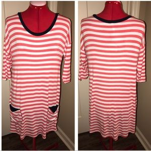 PINK BLUSH MATERNITY TOP OR DRESS STRIPE POCKETS M